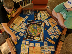 Here we are playing a 3-player game of Terraforming Mars.