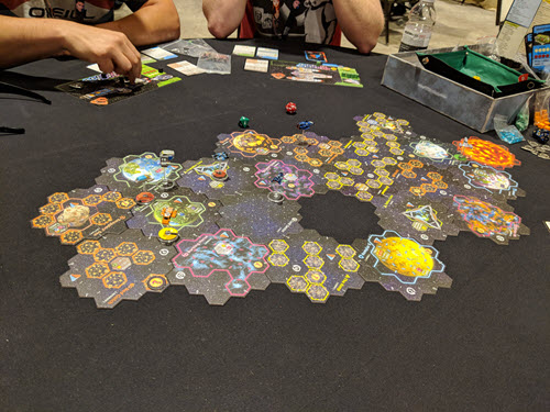 The known galaxy at the start of Twilight Imperium IV at Rage Con 2018