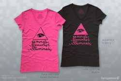 Gaming's Feminist Illuminati t-shirt created by artist Elizabeth Simins who also did the art for Dead Scare. Click on the picture to get your own GFI t-shirt.