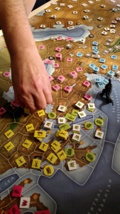 Cathy is playing green (Minoa) and Frank is playing yellow (Hellas).