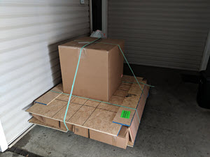 This package weighed 330 lbs and had to be brought from the truck to the door with a pallet jack.
